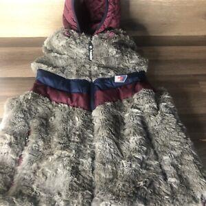 Retro Ski SUPER DRY Vest Women's Large Hooded Faux Fur Puffy