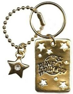 Planet Hollywood Logo Double Keychain Crystal Stone, Antique Gold Plate, NEW