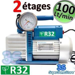 3S POMPE A VIDE CLIM R32 DOUBLE 2 étages 100 Lt/min électrovanne vacuomètre