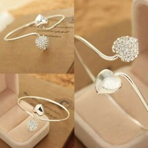 Crystal Love Heart Fashion Women Silver Plated Bangle Cuff Jewelry Bracelet Gift