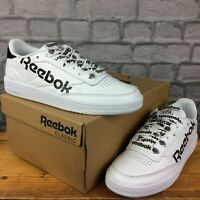 REEBOK LADIES UK 7 EU 40.5 CLUB C 85 WHITE BLACK LEATHER TRAINERS  C