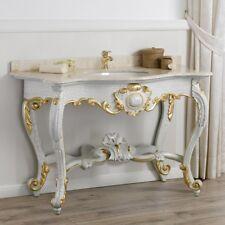 Consolle Luigi Filippo stile Barocco Veneziano arredo bagno crackle e foglia oro