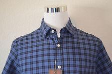 Cremieux - Man's Large Blue & Black Plaid Short Sleeve Casual Shirt $69.50 (M65)