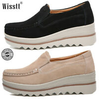 Women Suede Slip on Platform Hidden Wedge Heel Shoes Casual Sneakers Loafer Gray