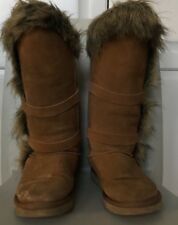 UGG Australia Womens Tall Shearling Chestnut Suede Fur Boots 8 Strap  Buckle