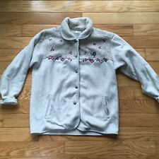 Vintage Northern Getaway Fuzzy Floral Bird Embroidered Sweater Cardigan M