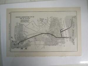Original Vintage Map of the Hudson & Manhattan RR Co Map of System 1917