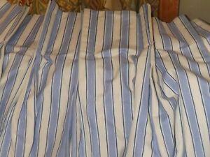 2 Panel Custom Pleated Blue White Used Window Curtain Drapes