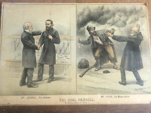 Antique Original Tom Merry Political Cartoon Lithograph Dr Jekyll & Mr Hyde