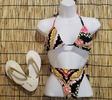 Ami Clubwear Black Floral sz Medium 2 Piece Bikini w/size 7 Gold Flip Flops NEW
