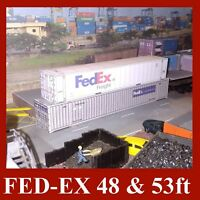 HO Gauge Fed-Ex Mutimodal Model Shipping Containers Card Kits 48ft & 53ft x 5