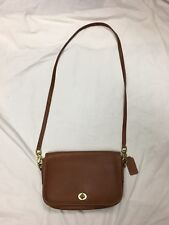 Vintage Coach Tan Small Leather Cross Body Messenger Bag Purse