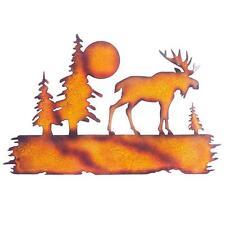 Sunjoy Durable Orange 16-in Iron Moose Metal Laser Cut Outdoor Wall Decor