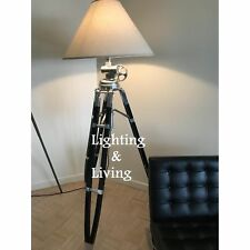Restoration Hardware Authentic Tripod Big Floor Lamp Wooden Stand Without Shade