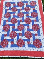 PINWHEEL QUILT STRAWBERRIES FLORAL FLOWER FABRIC PATCHWORK LAP WALL HANGING