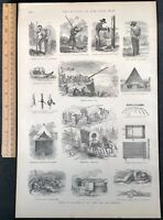1884 Civil War Engraving Examples Of Soldiers Living In The Camp & On Campaign