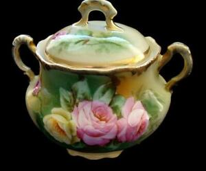Gorgeous Antique ROYAL MUNICH Hand Painted Porcelain Covered Sugar ARTIST SIGNED