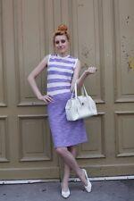 MODELL HJ RIBBE Kleid Trevira 38 Lila Weiß gestreift 60er True VINTAGE 60´s