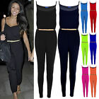 Women's All in One Celebrity Style Trouser Gold Belted Playsuit Ladies Jumpsuit