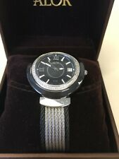 WOMEN'S ALOR BLACK DIAL DIAMOND BEZEL CABLE BAND STAINLESS STEEL WATCH