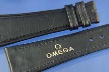 Genuine Omega 24mm Black Leather Watch Strap Brand New