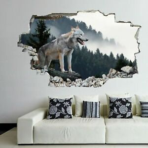 Highly Detailed Abstract Wolf Illustration Sticker Decal Removable Wall Decor
