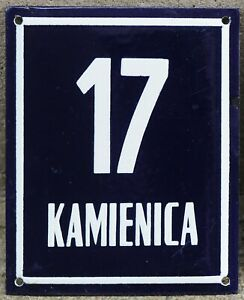 Large old Polish house number 17 door gate plate plaque enamel French blue sign