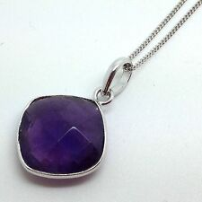 Amethyst Cushion pendant solid Sterling Silver, Actual One UK Seller, Chain.
