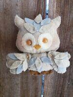 Baby Woodland Owl Ornament Christmas Decoration wood land OOAK handstitched