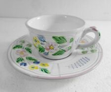 Herend Village Pottery Cup & Saucer Set Trellis Pink Trim Handpainted in Hungary