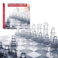 Chess & Draughts Set Glass Pieces And Board Set Frosted Clear Game Traditional