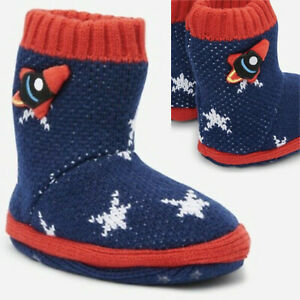 Boys Slippers Boots Space Planet Rocket Spaceship Super Soft Sherpa Socks