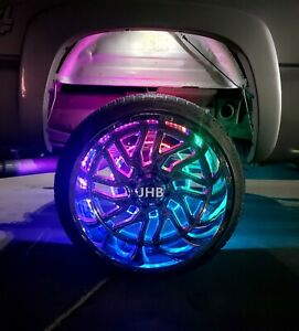 "4x 15.5"" Bluetooth App Control CHASING Flowing illuminated LED Wheel Rings Light"