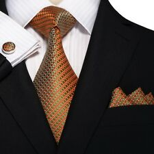 Men's Metallic Orange Small Grid 100% Silk Neck Tie Set Cufflinks & hanky 18A66