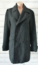 Saba Duffle Trench Coat Size 36 Medium Small Black Grey Wool Cashmere