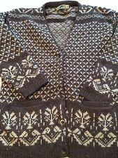 VTG LL BEAN Norse Folk Shetland Wool Aspen Ski Cardigan Sweater sz SMALL VINTAGE