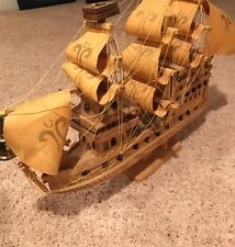 VINTAGE WOODEN SAIL BOAT Collectable Unique LIGHTS UP Detailed Bell Masterpiece