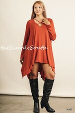 NWT UMGEE Rust Orange Strappy Neck Long Asymmetrical Hem Jersey Tunic Top XL