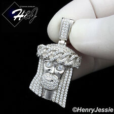 MEN 925 STERLING SILVER LAB DIAMOND ICED OUT BLING JESUS FACE CHARM PENDANT*P167