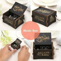 """Happy Birthday"" Vintage Wooden Hand Cranked Music Box Crafts Ornaments Gifts"