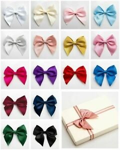 10cm Self Adhesive Pre Tied Satin Bows 38mm Ribbon in Packs of 1, 2, 4 or 6