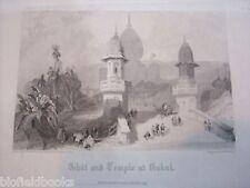 Antiquarian Engraving: Gokul Ghat & Temple India c1855 Indian Antique Print
