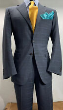 Canali Wool Gray Royal Blue Window Pane Suit 38 R Vented