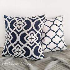 Mix & Match Home Sofa Decor Dark Navy/White Embroidered Geometric Cushion Cover