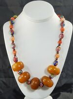 African Trade Large Amber Beads & Venetian Murano Millefiori Beads Necklace