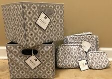 New 5Pc Pottery Barn Teen Hanging Toiletry + Travel Pouches + Bins Boho Gray