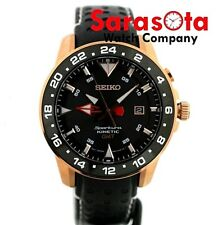 Seiko Sportura 5M85-0AA0 Kinetic GMT Rose Gold Chronograph Leather Men's Watch