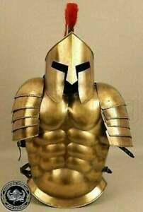 Muscle Jacket With Armor Spartan Helmet Brass Halloween Medieval Greek Costume