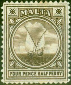 Malta 1905 4 1/2d Brown SG57 Fine Mtd Mint