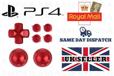 RED METAL BUTTONS SET FOR PS4 CONTROLLER DUALSHOCK 4 REPLACEMENT MOD - NEW